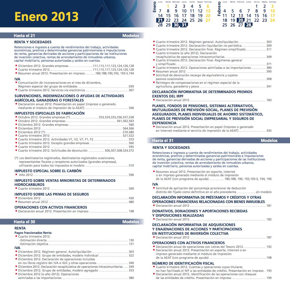 Calendario fiscal enero 2012