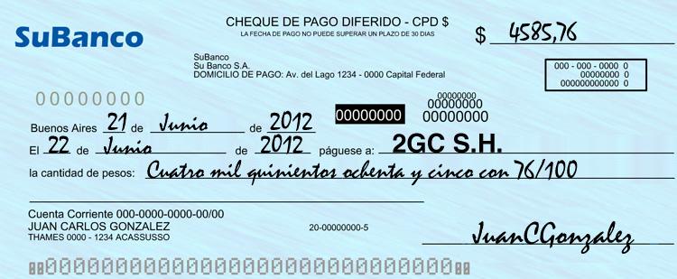 Cheque pago diferido