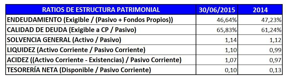 Ratios estructura patrimonial