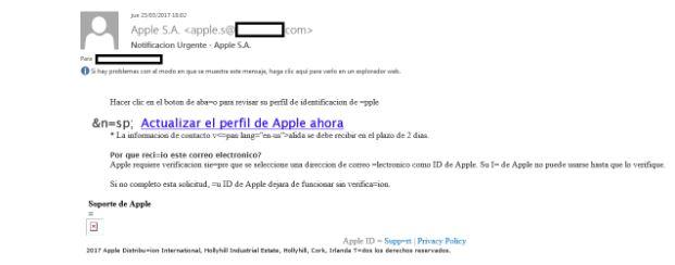 Campaña de phishing a Apple