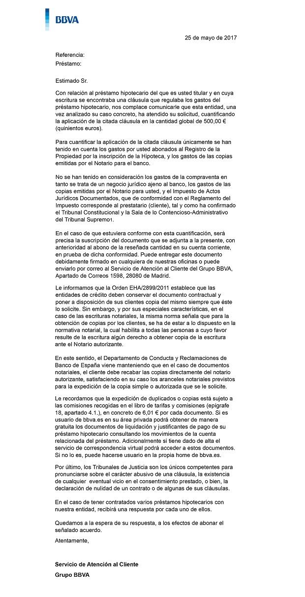 Reclamaci n gastos constituci n hipoteca bbva for Reclamacion hipoteca suelo