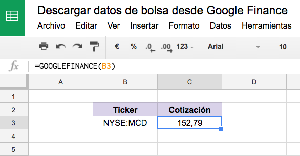 Funciones google finance
