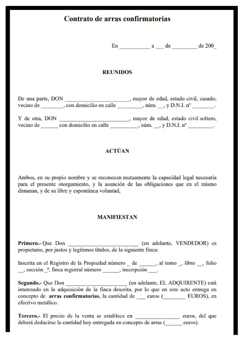 Contrato de arras: características, modelos y funcionamiento - Rankia