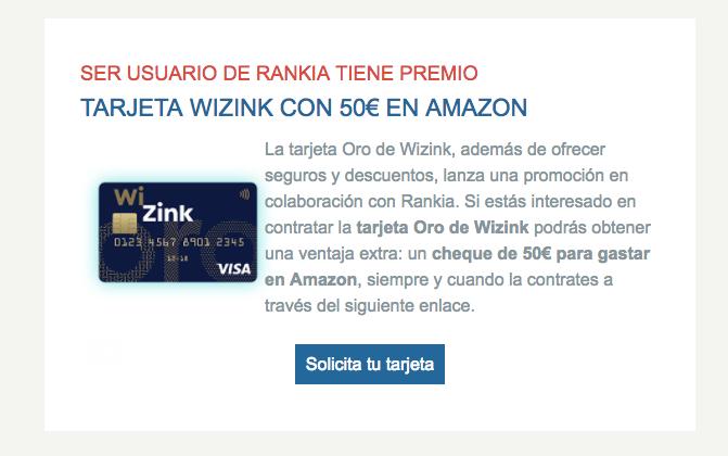 Tarjeta Wizink Promoción