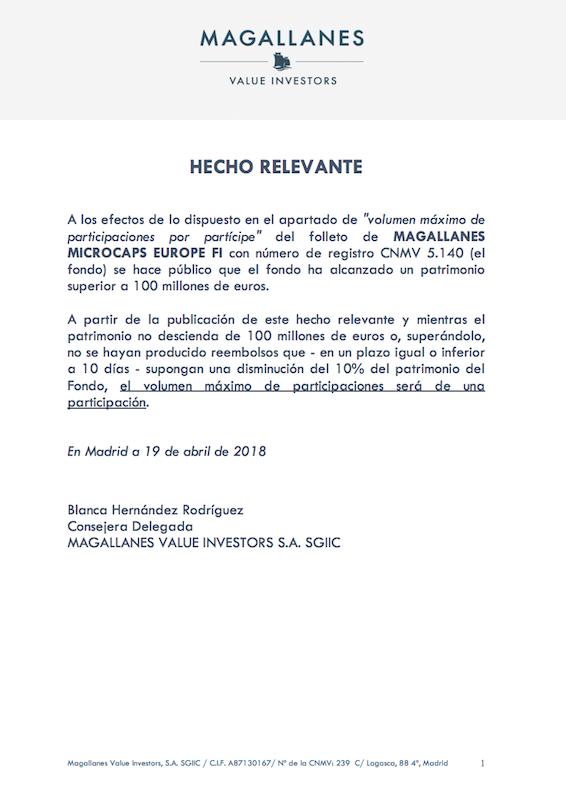 HR cierre de Magallanes Europe Microcaps