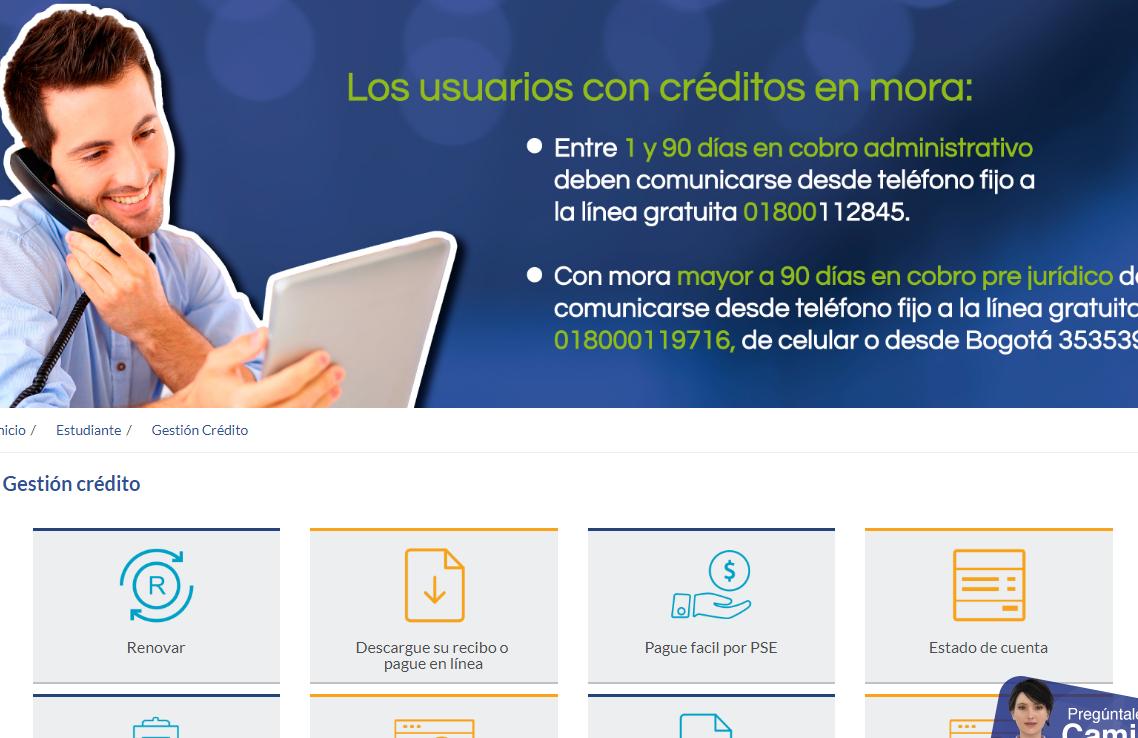 Paso 2: Menú gestión crédito