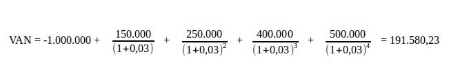 ejemplo de cálculo del valor presente neto