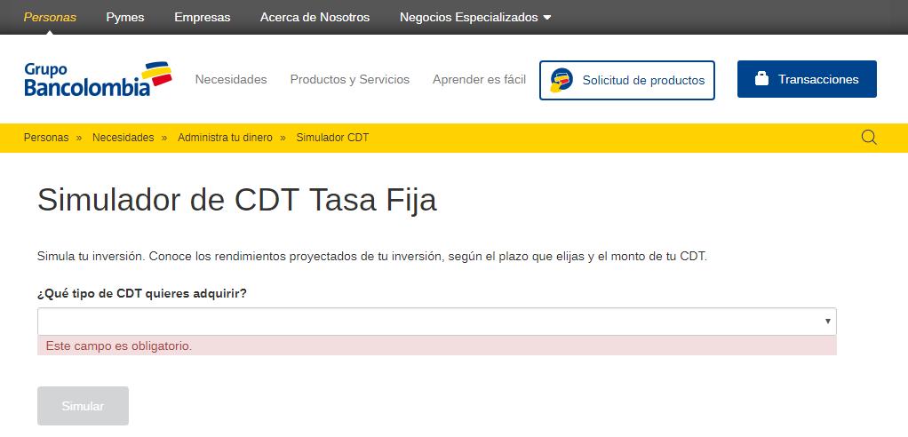 ¿Cómo funciona el simulador cdt Bancolombia?:Paso #1. Ingresar a la página web