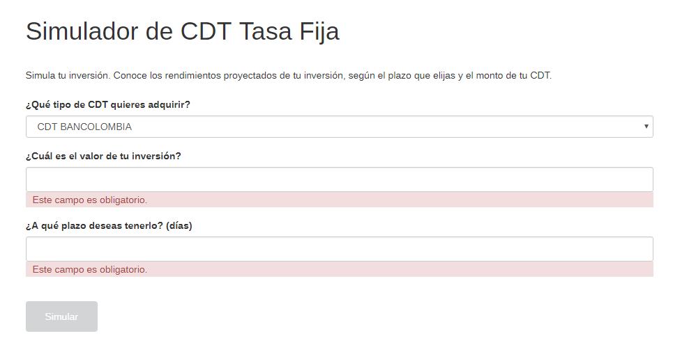 ¿Cómo funciona el simulador cdt Bancolombia?:Paso #2. Ingresar a la página web