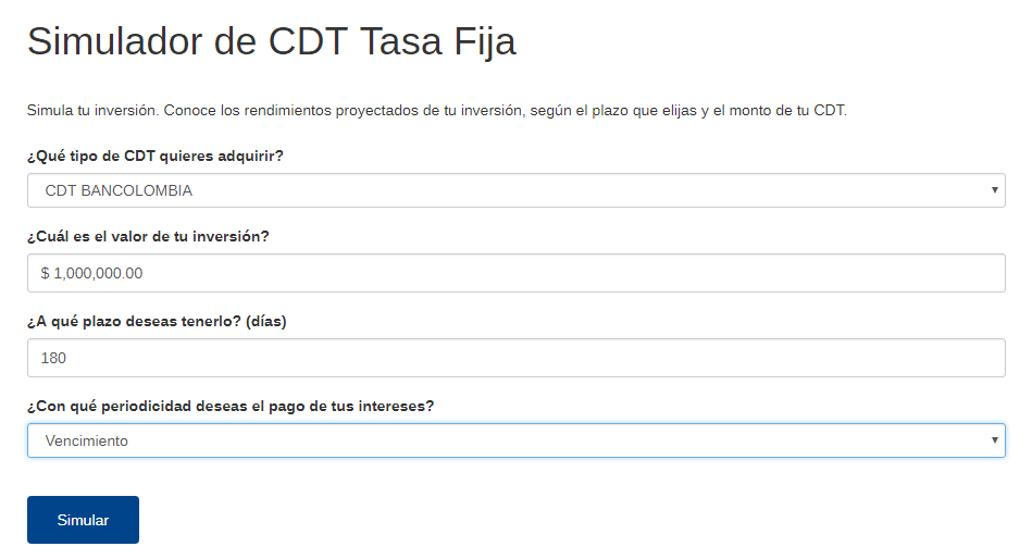 ¿Cómo funciona el simulador cdt Bancolombia?:Paso #5. Seleccionar periodicidad de pago de intereses
