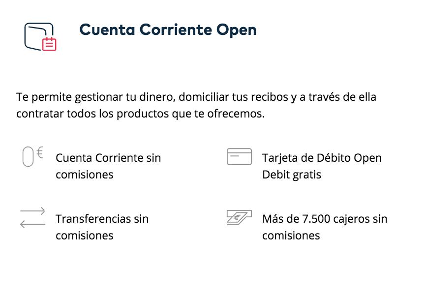 Cuenta corriente open de openbank