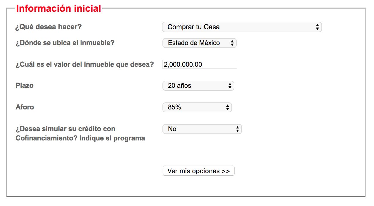 Simulador de crédito hipotecario Santander