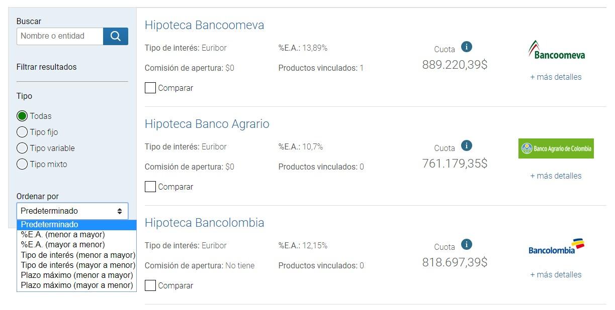 Comparador y simulador de créditos hipotecarios en Colombia: Inicial