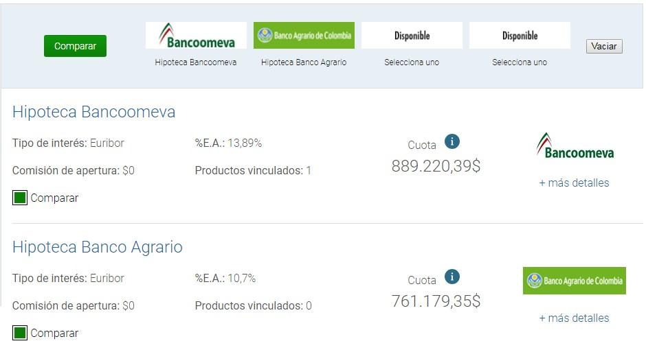 Comparador y simulador de créditos hipotecarios en Colombia: Selección