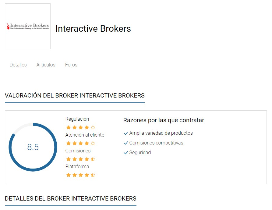 Comparador de Brokers de Rankia: Interactive Brokers detalles