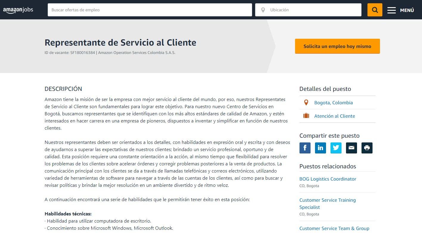 Paso #4. Empleo Amazon Colombia