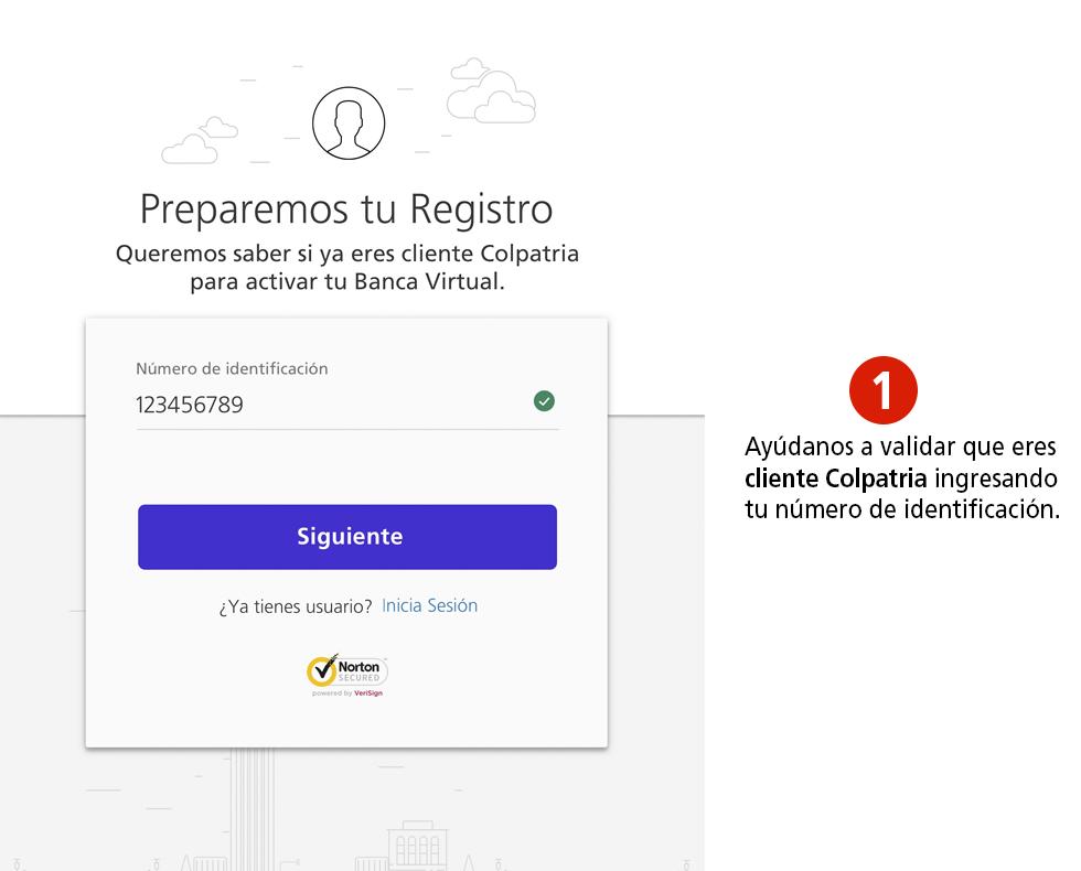 Registrarte en Colpatria Banca Virtual - Paso 1