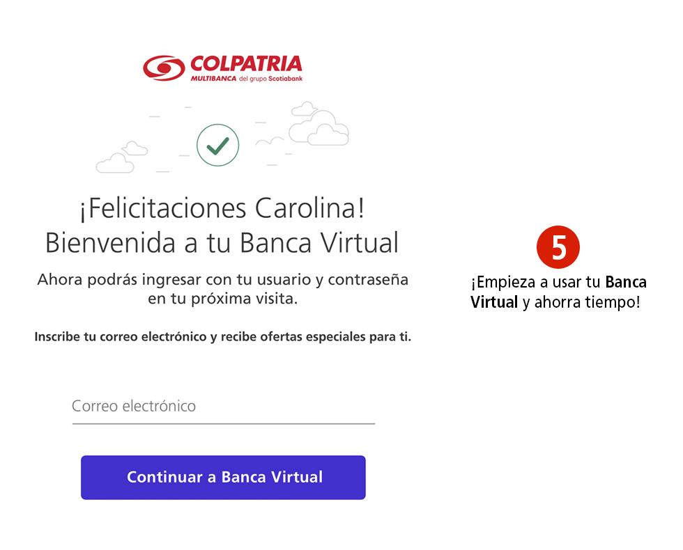 Registrarte en Colpatria Banca Virtual - Paso 5
