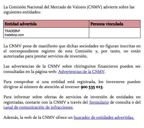 tradebnp alerta cnmv