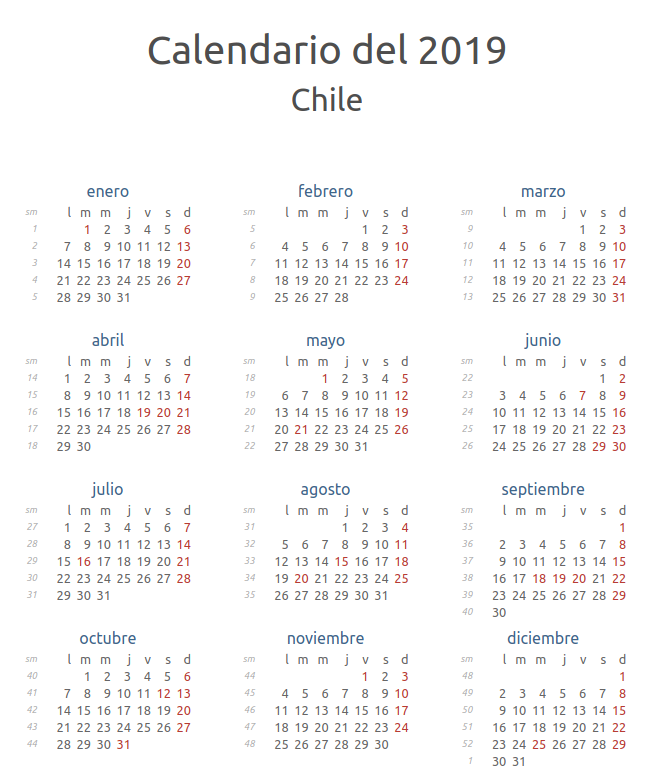 Calendario 2019 Julio Y Agosto.Calendario Oficial Feriados Chile 2019 Rankia