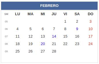 Calendario laboral Colombia: Febrero 2019