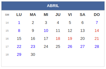 Calendario laboral Colombia: Abril 2018