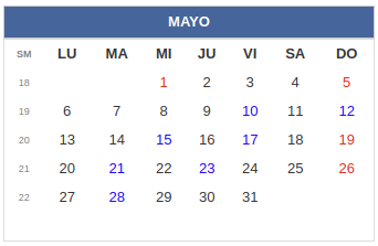 Calendario laboral Colombia: mayo 2019