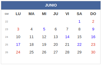 Calendario laboral Colombia: Junio 2019