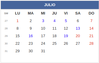 Calendario laboral Colombia: Julio 2019