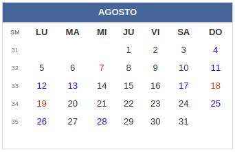 Calendario laboral Colombia: Agosto 2019