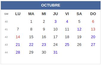 Calendario laboral Combia: Octubre 2019