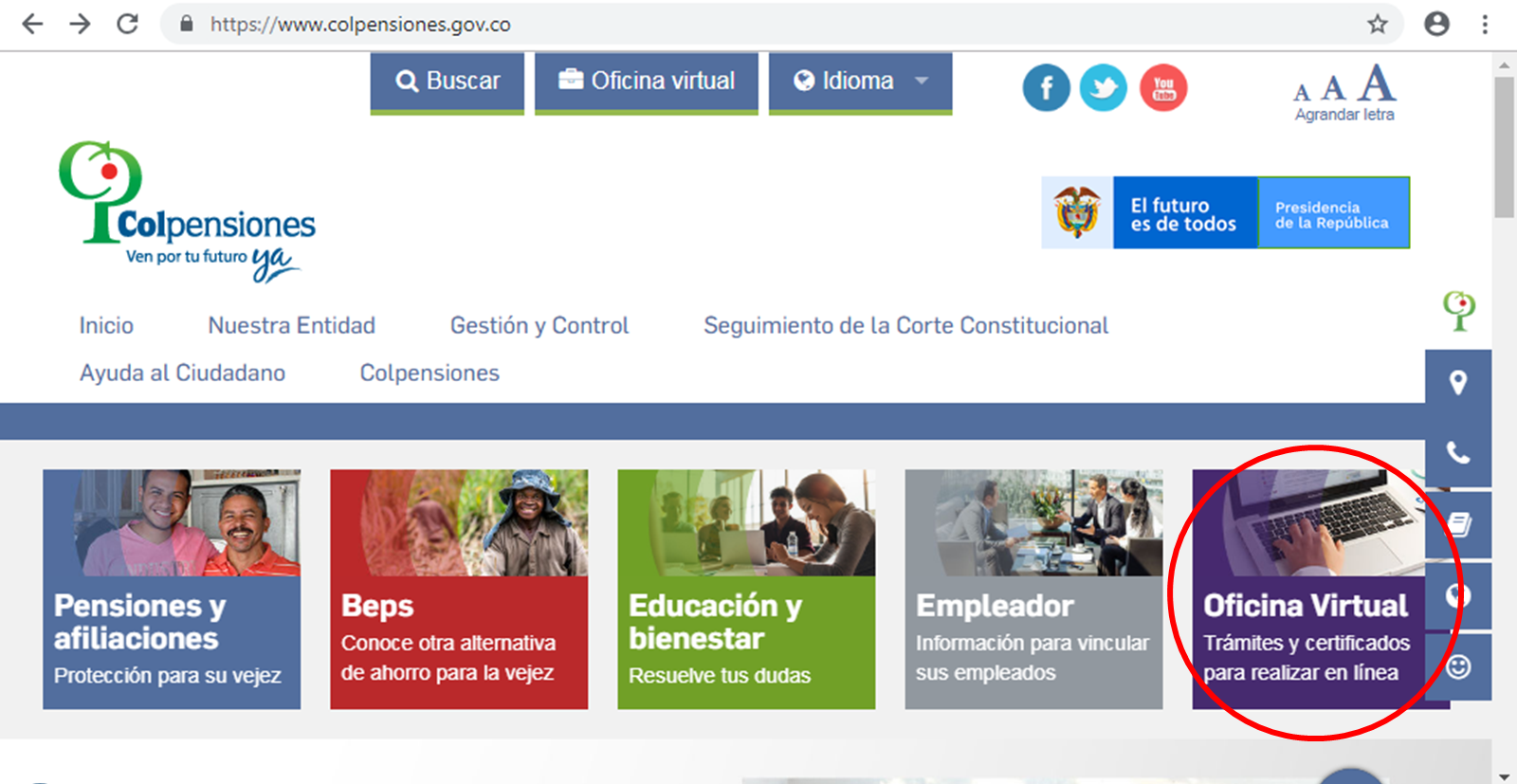 Oficina Virtual Colpensiones