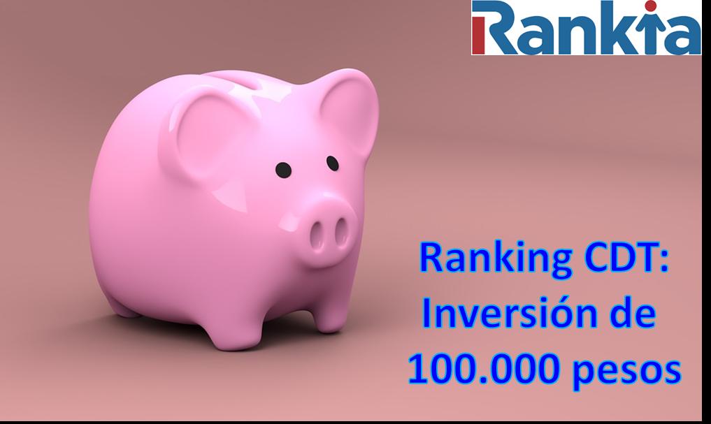 Ranking CDT: Inversión de 100.000 pesos