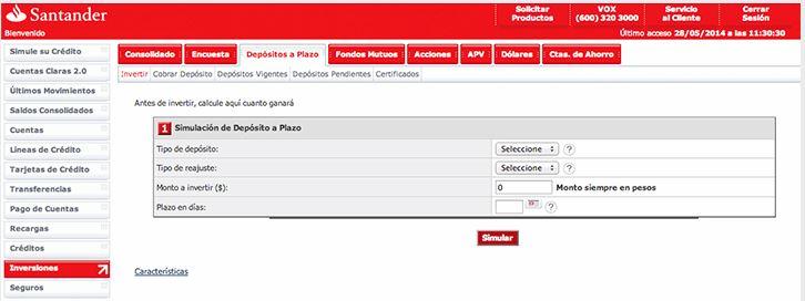 Simulador de depósitos: Santander