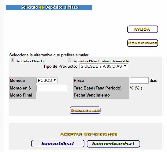Simulador de depósito a plazo: Banco de Chile