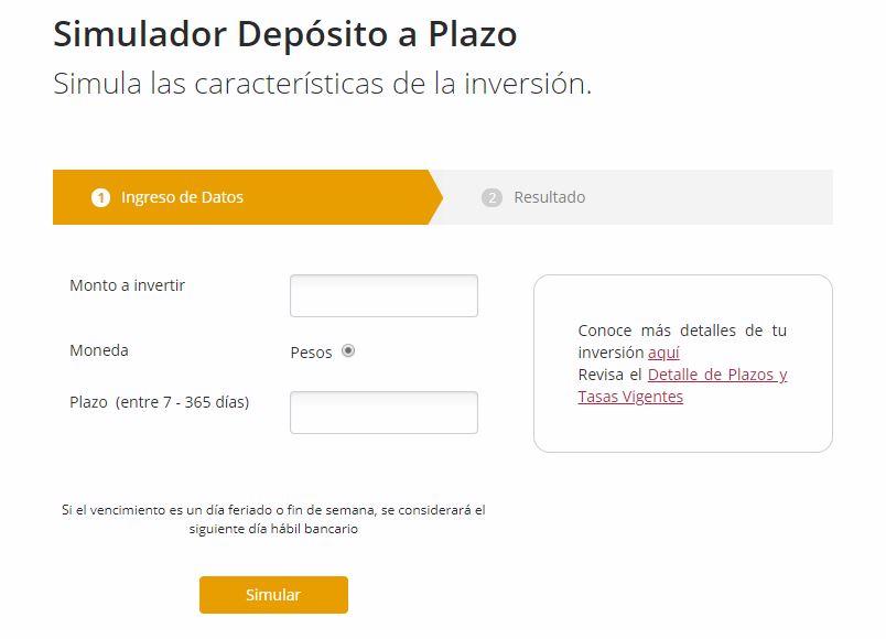 Simulador de depósito a plazo: BancoEstado