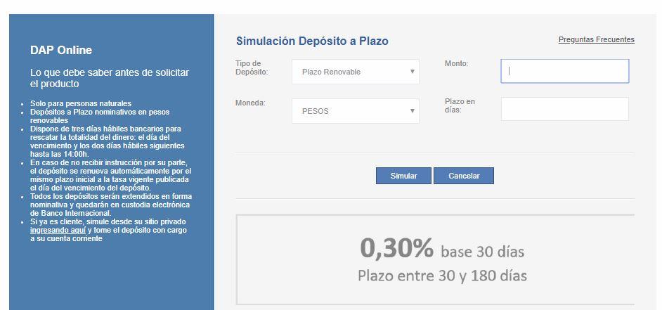 Simulador de depósito a plazo: Banco Internacional