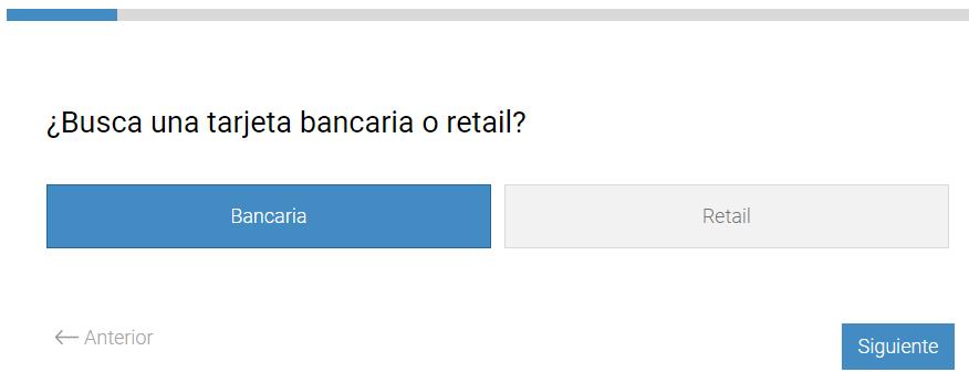 Paso 1. Seleccionar tarjeta bancaria o retail