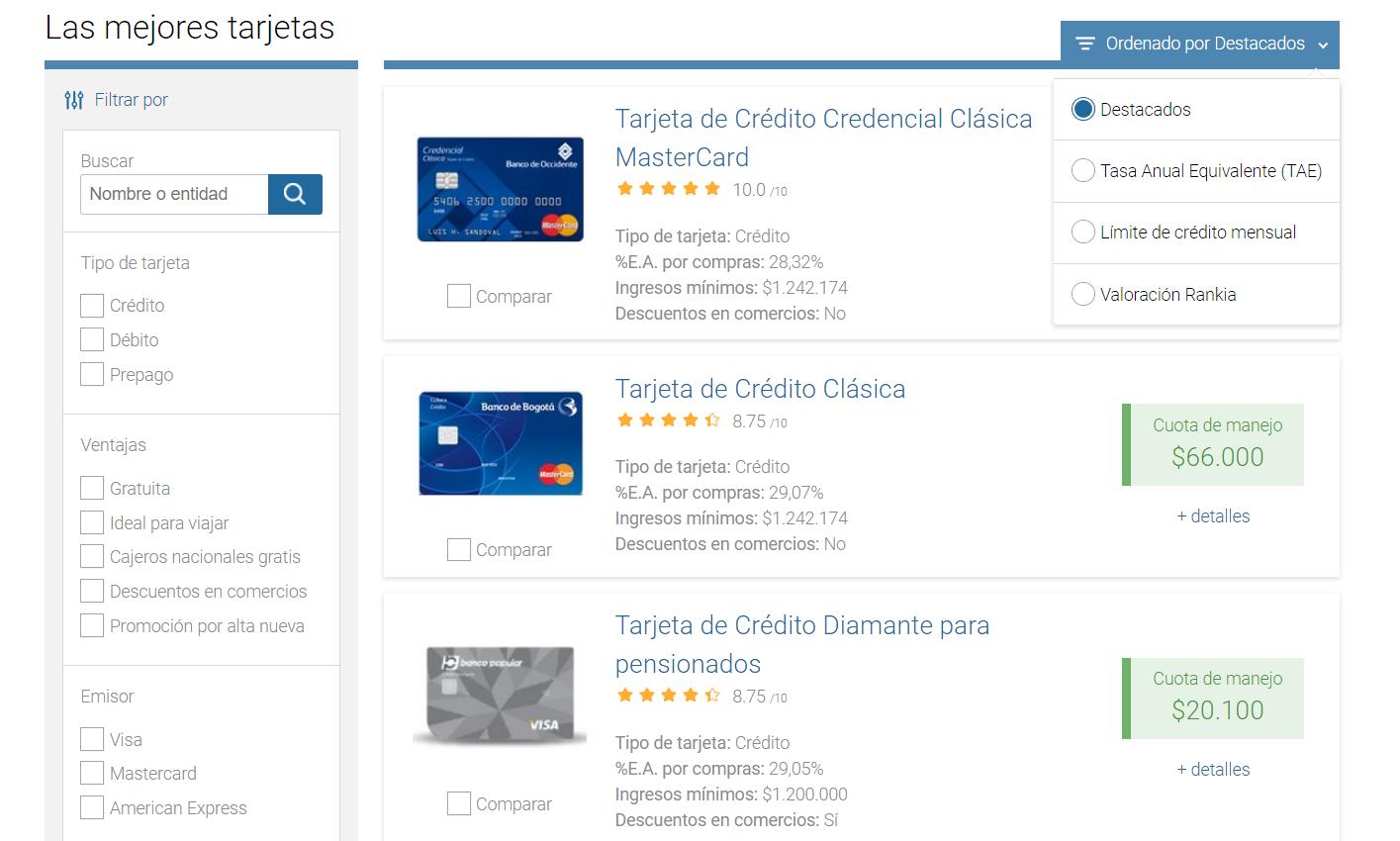 Comparador de tarjetas en Colombia: Inicial