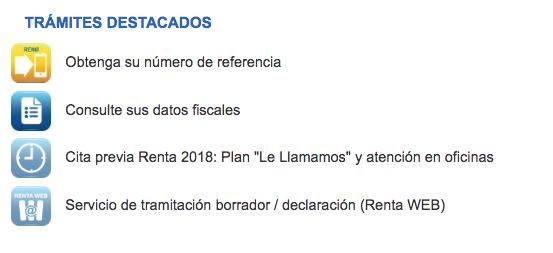 declaración de la renta 2018, acceso a los trámites