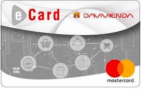 Mejores tarjetas de crédito online: Tarjeta virtual E-Card Davivienda