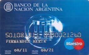 tarjeta debito banco nacion