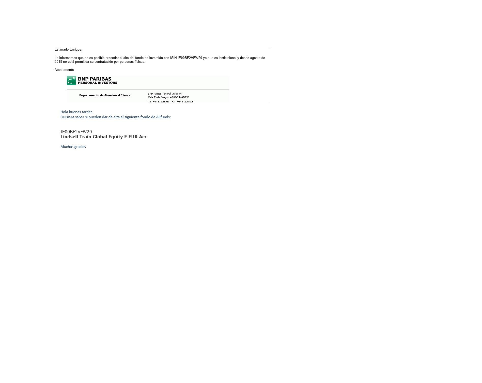 Consulta del fondo Lindsell, version en euros a Bnp