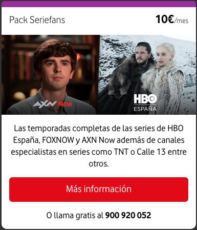 Nuevos paquetes de televisión a la carta Vodafone: Pack Seriefans