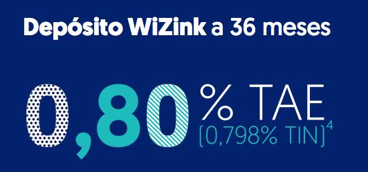 Depósito wiZink a 36 meses al 0,80% TAE