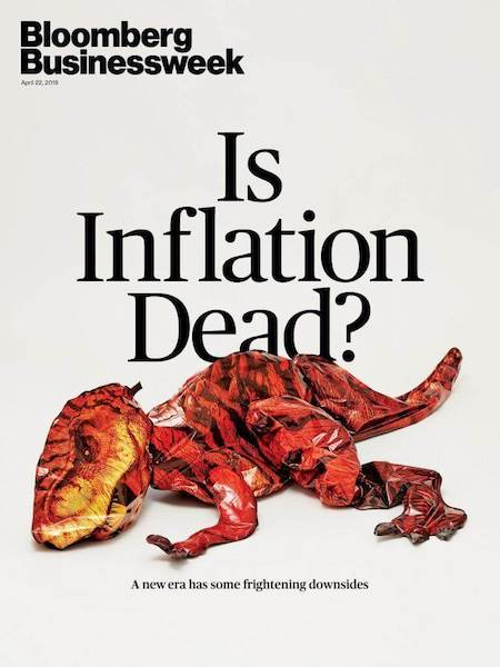"Portada de la revista Bloomberg Businessweek ""Is Inflation Dead?"""