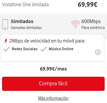 Tarifa Vodafone One ilimitada