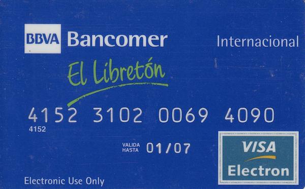 Tarjeta débito bbva bancomer libretón premium