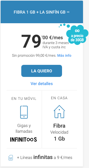 Tarifa Yoigo Fibra 1GB + la sinfin GB infinitos