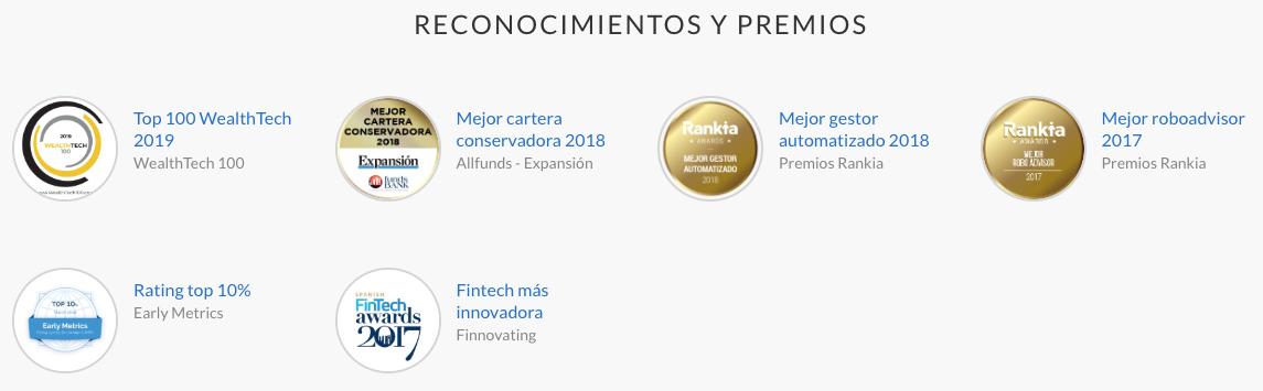 Reconocimientos y premios de Indexa Capital